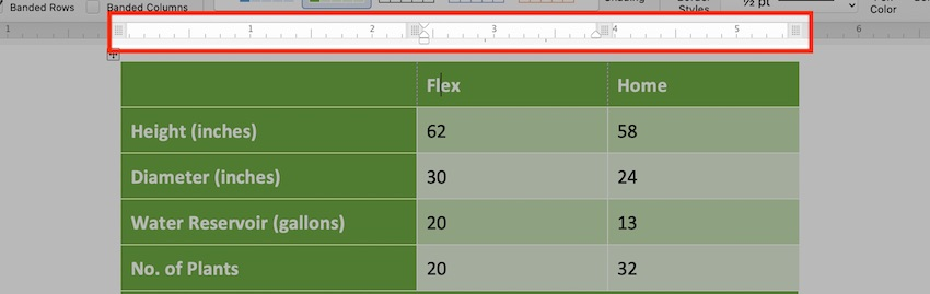 Edit a table in MS Word - Table Ruler