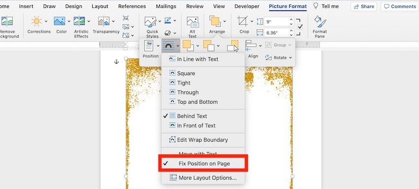 How to add border in Word - Fix position on page