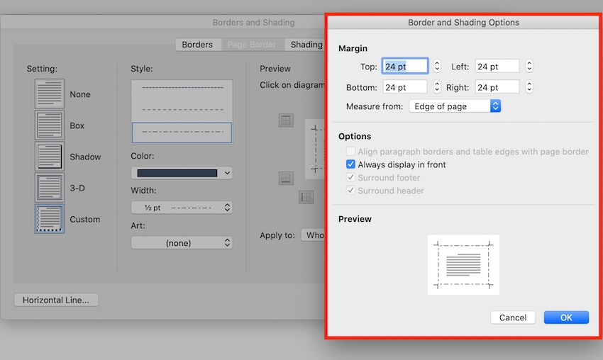 How to add border in Word - Border and Shading Options