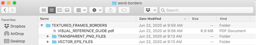 Word borders - Border template files