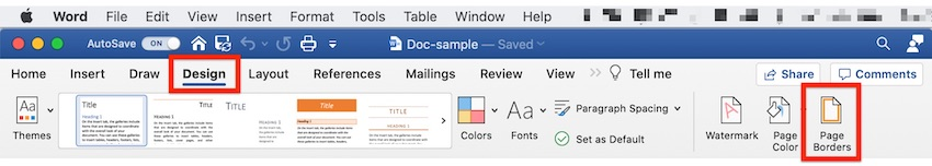 Word borders - Page Borders button