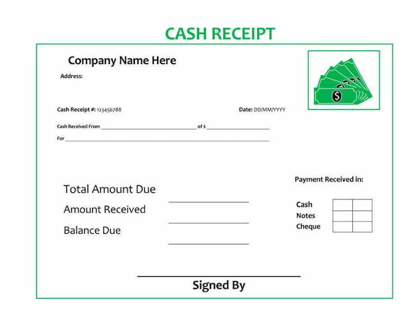 Cash receipt template MS Word