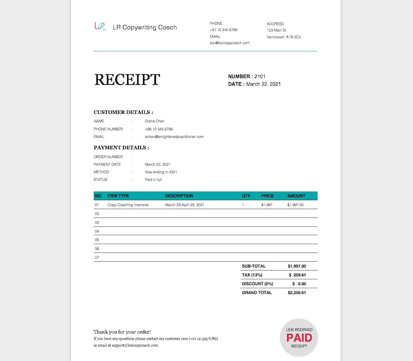 receipt template word - fully customized
