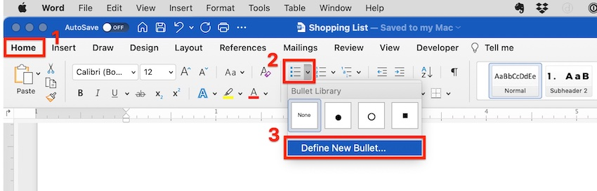 add checkbox in word - define bullet