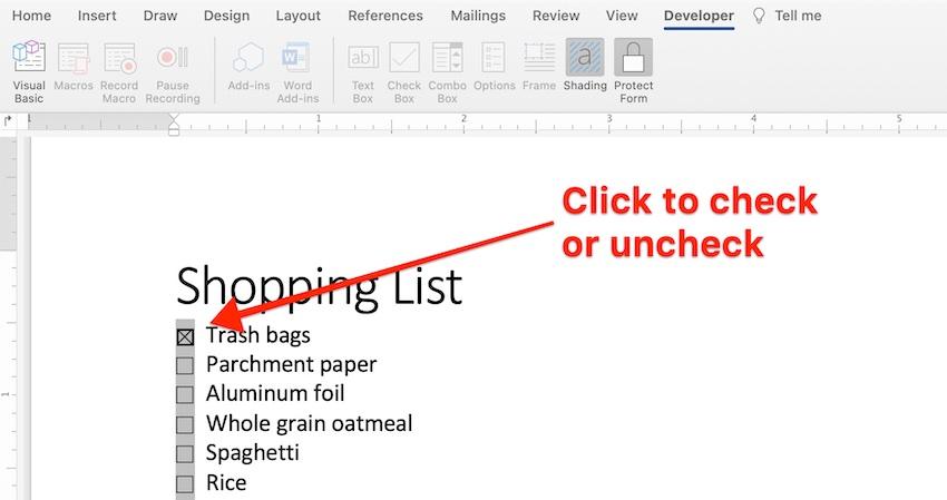 microsoft word checkbox - test form