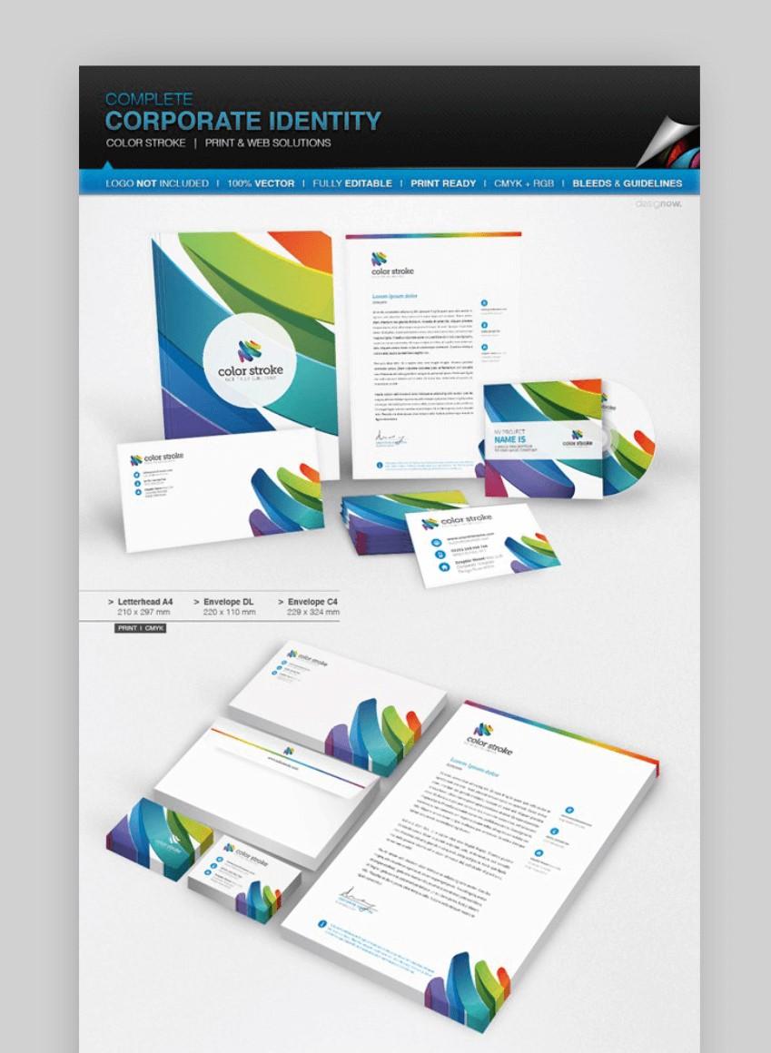 Corporate Identity - Color Stroke letterhead template
