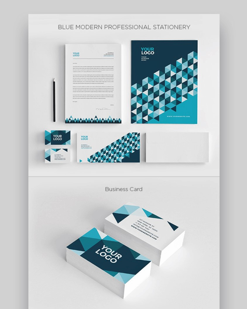 professional blue stationery templates