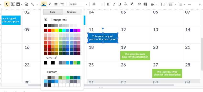 Change color Google Slides calendar