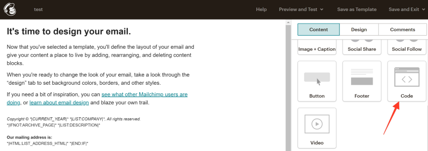 Add Code section to Mailchimp