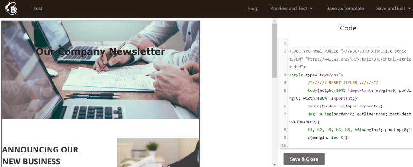 Add html to Mailchimp newsletter templates download