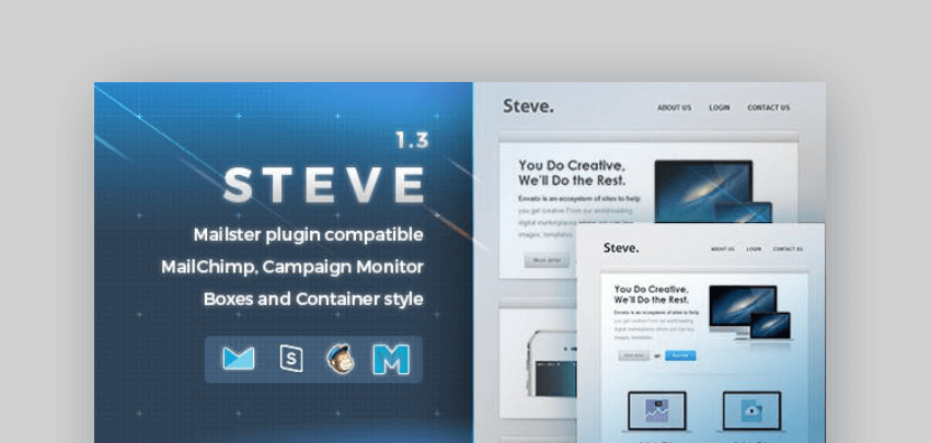 Steve responsive email newsletter template for Mailchimp