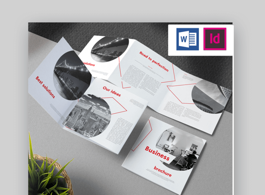 red microsoft word brochure template