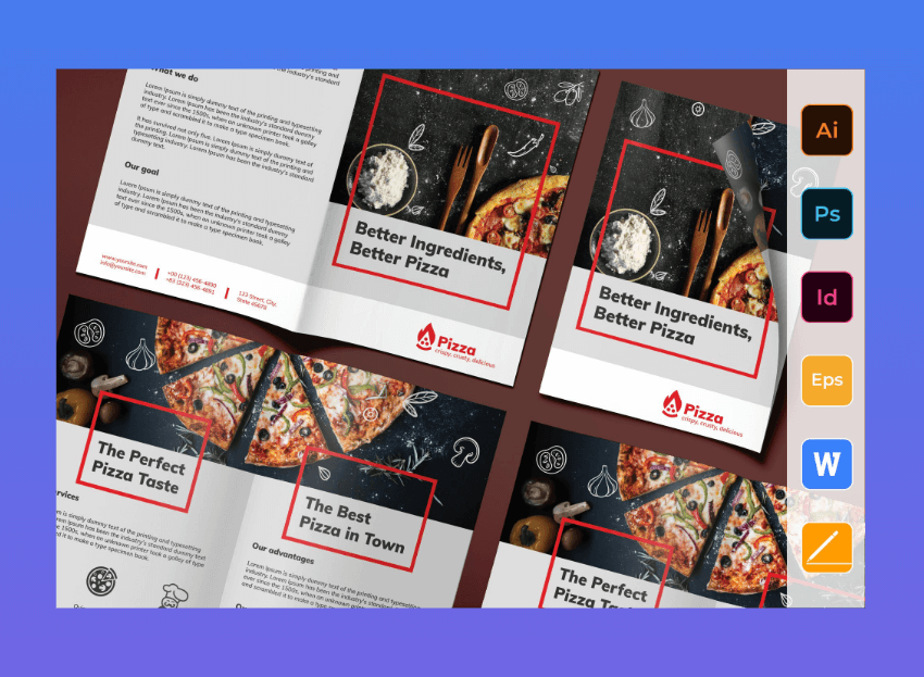 Pizza brochure templates word