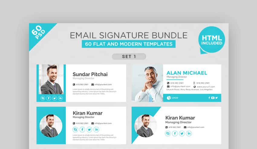 bundle of  cool email signature templates