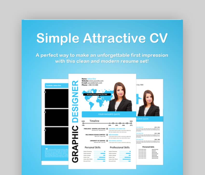 simple attractive resume cv template
