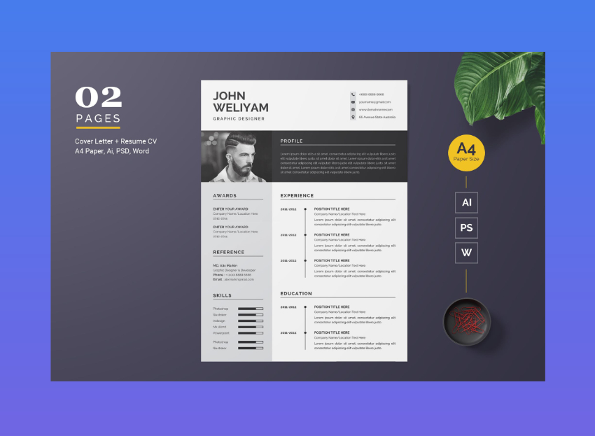 modern minimalist resume from Envato Elements