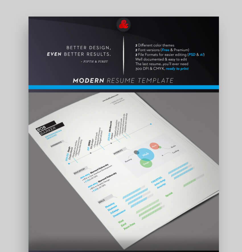 find modern resume examples on GraphicRiver