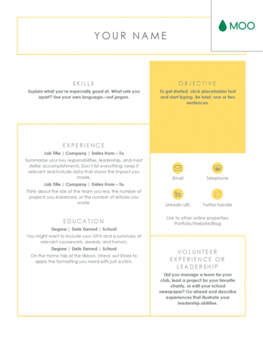 moo clean resume template free