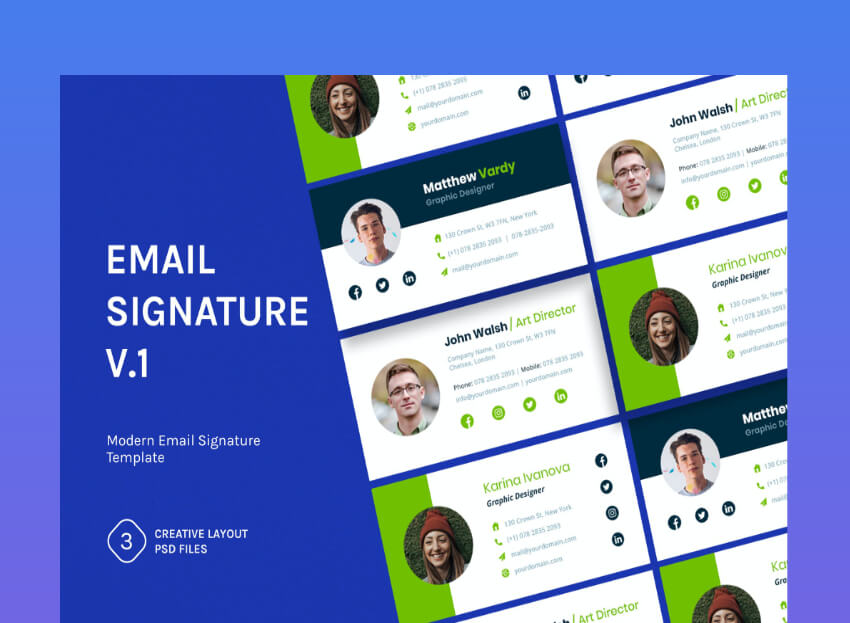 18 Best Free Email Signature Templates (Download HTML ...