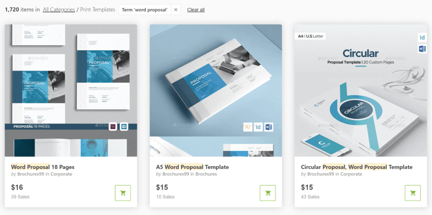 Get Word proposal templates on GraphicRiver
