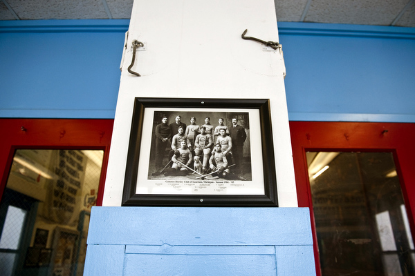 An old image from the early days of hockey hangs on the wall of the Calumet Colosseum in the Upper Peninsula