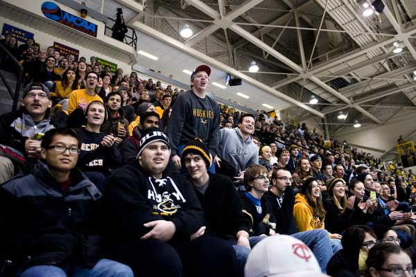 Michigan Tech fans cheer on their college hockey team during a game against Minnesota-Duluth