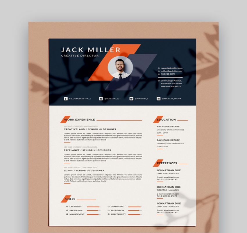 25 Free Google Docs & Microsoft Word Resume CV Templates (2019)