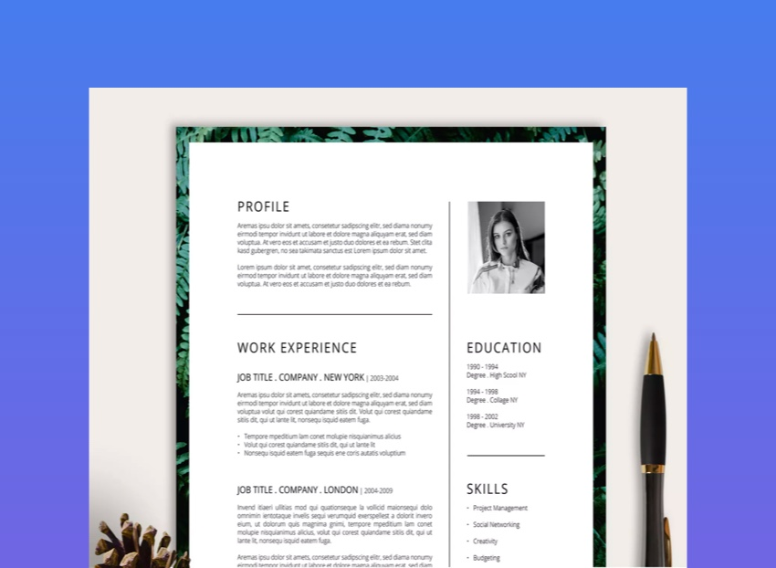 Ferns Is A Unique Resume Template That Features Border Of If You Love Nature Can Still Look For Job And Show Off Your While