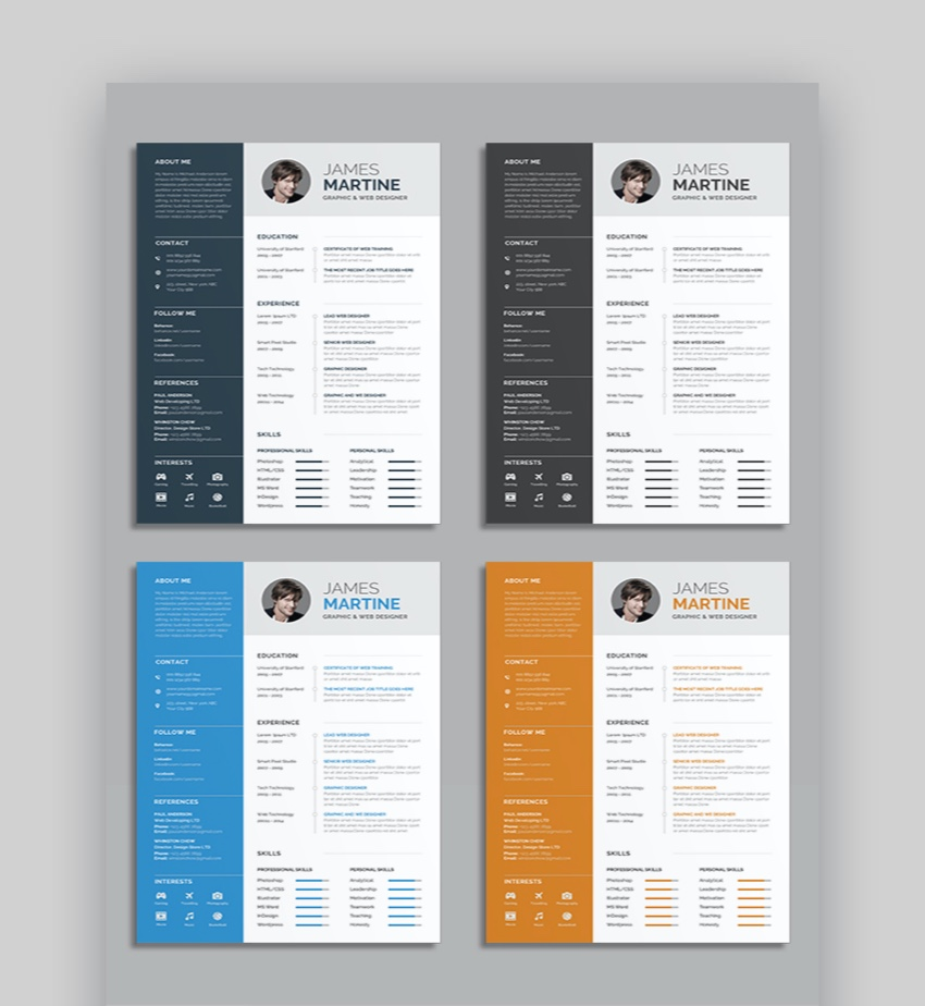 25 awesome illustrator ai resume templates with creative