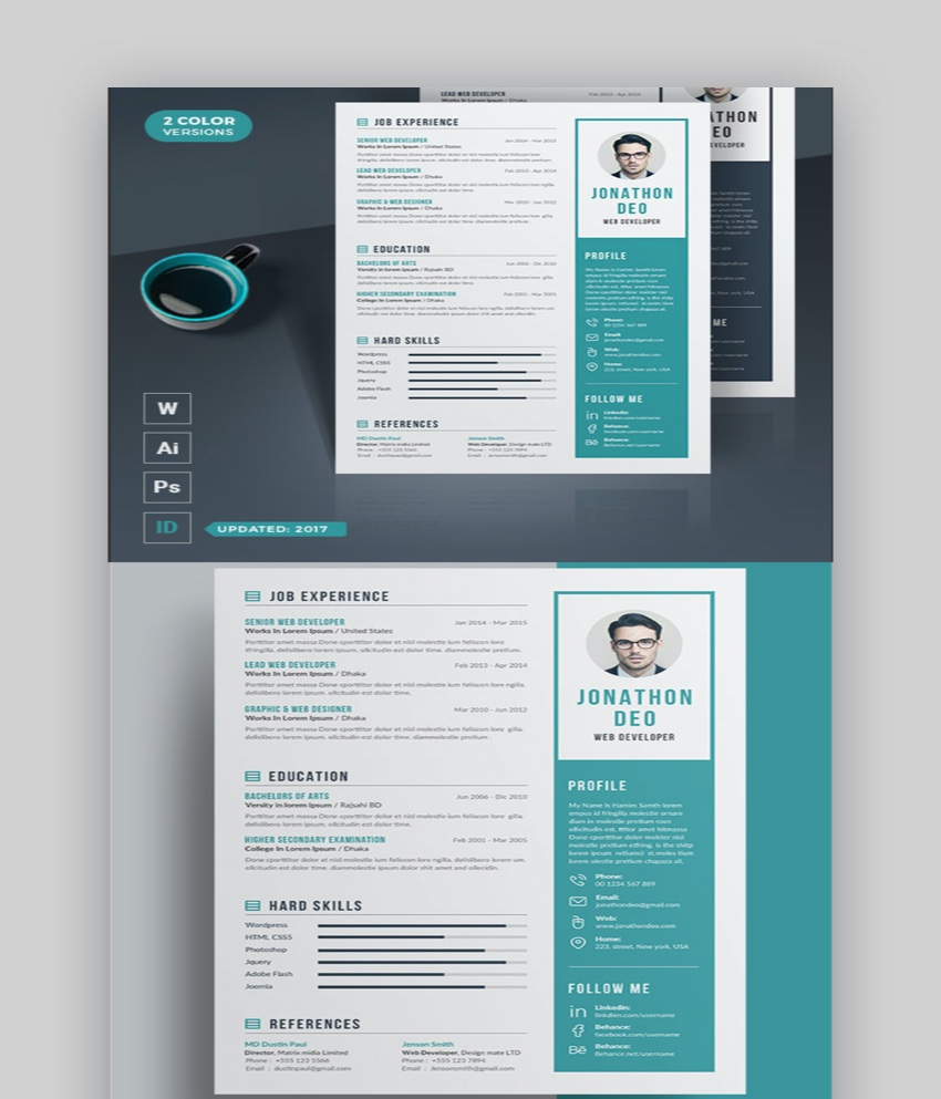 20 Awesome Illustrator Resume Template Designs To Wow Hiring