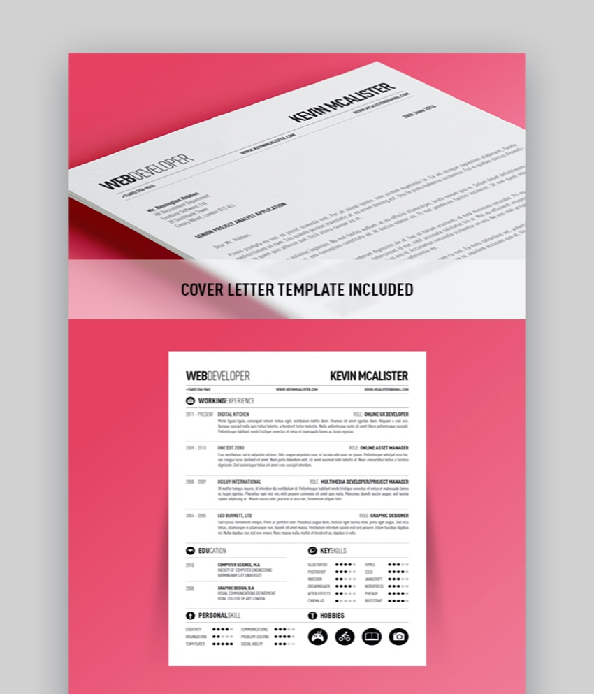 20 Awesome Illustrator Resume Template Designs to Wow Hiring ...