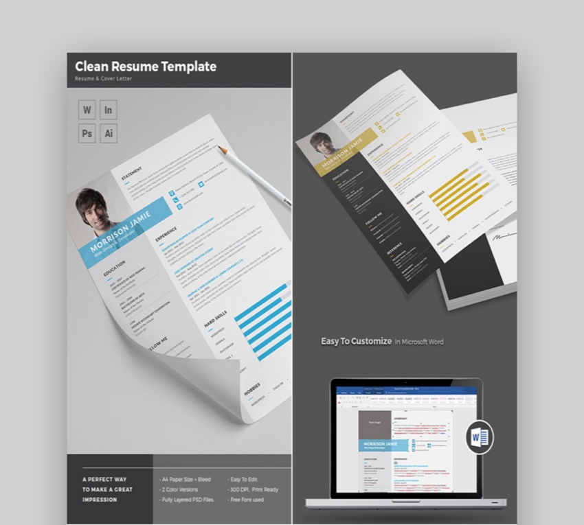 Clean and Simple MS Word Resume Template Design