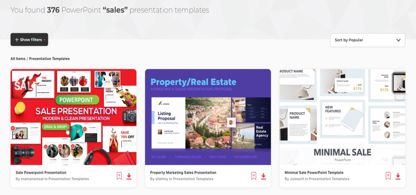 Envato Elements sales presentations