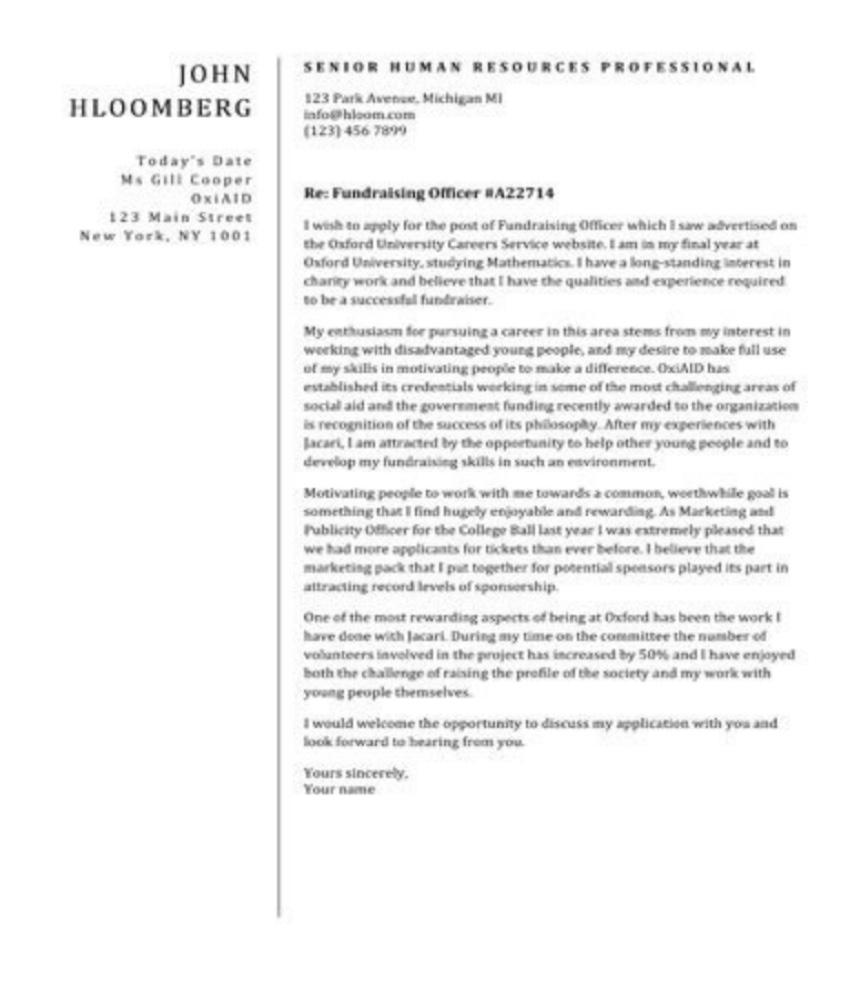 Plain Diveder Cover Letter