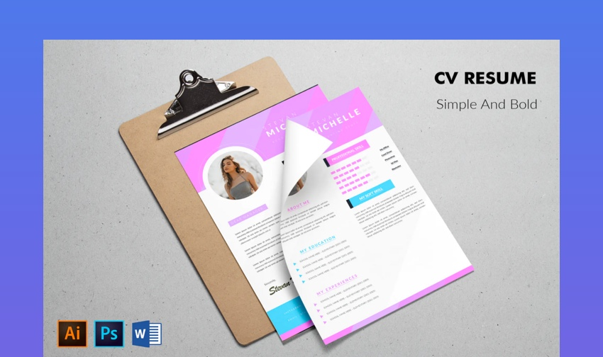 CV Resume Simple and Bold