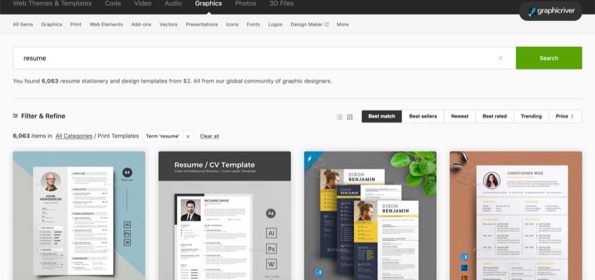 GraphicRiver Template search