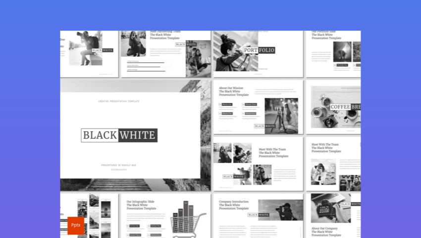 25 Free Black And White Powerpoint Template With Simple Ppt Backgrounds