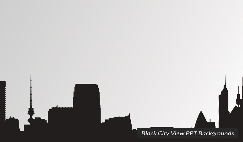 Black and White City View PowerPoint Template