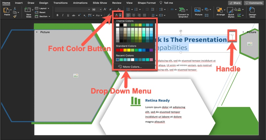 How to change the font color