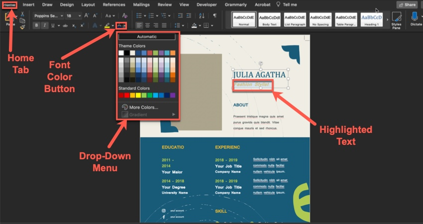 How to Change Font Color