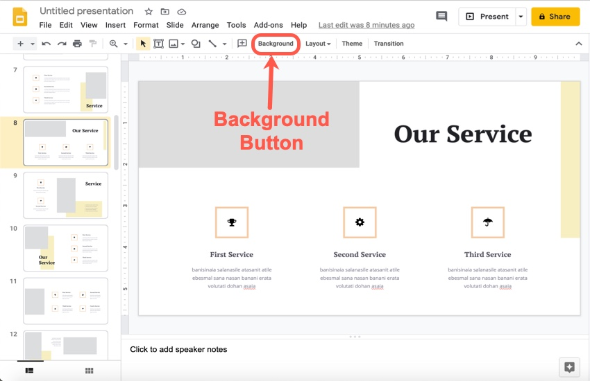 How to change the slides background color