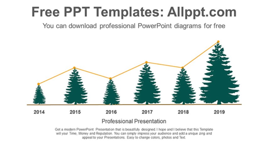 Tree Line Chart PowerPoint Diagram Template
