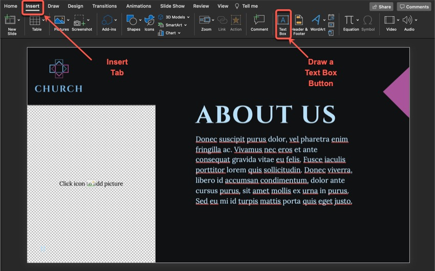 How to add new text.