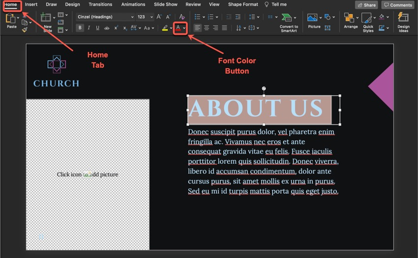 How to change the color of the font