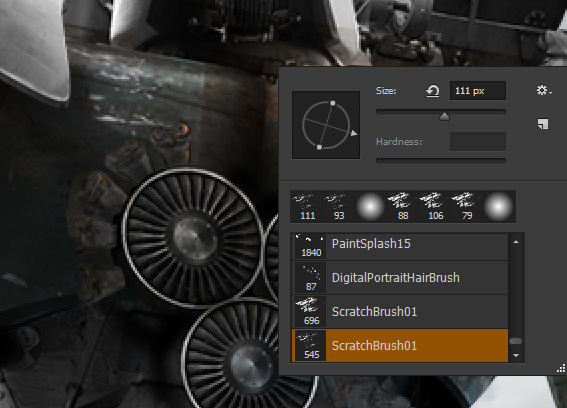 Adjust the brush rotation with the right click menu