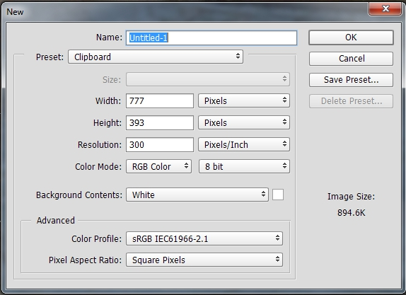 New file dialogue box autofills the correct pixel dimensions