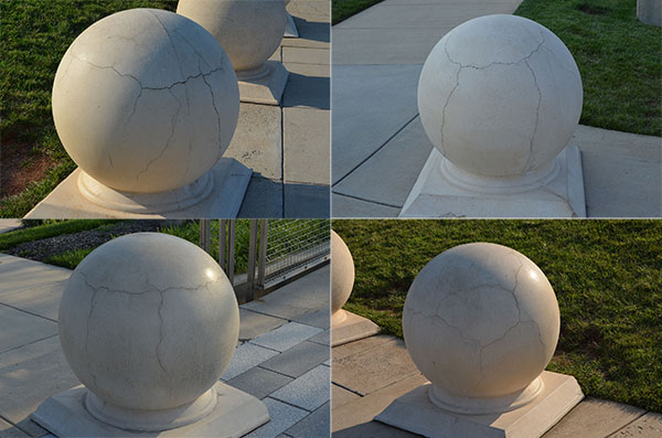 Photos of cracked concrete spheres