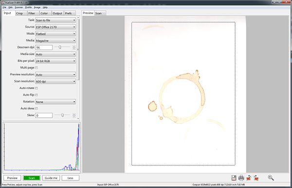 Scan in the coffee rings