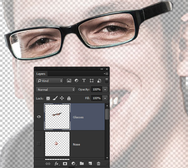 Create a selection for the glasses layer
