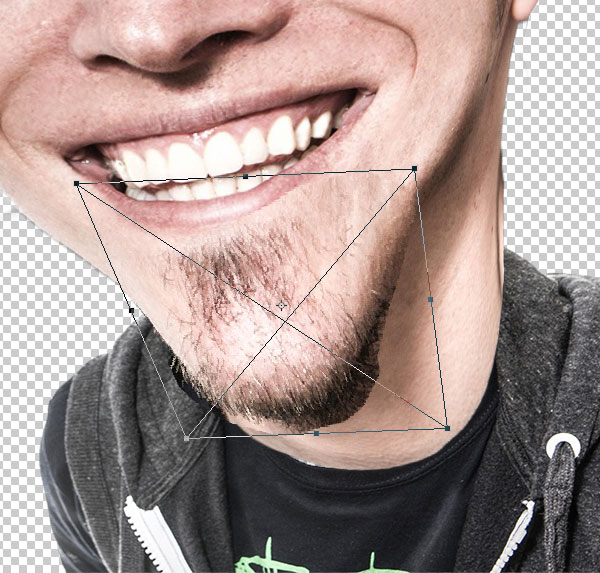 Distort the chin